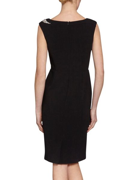 Gina Bacconi Dior crepe knit dress with beaded trim