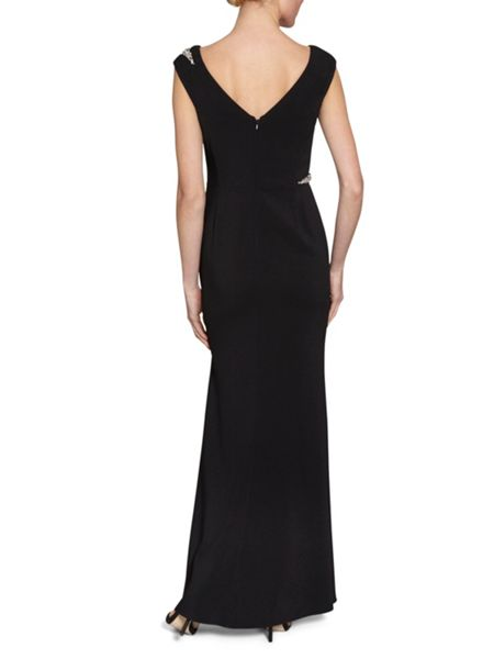 Gina Bacconi Maxi Dress With Beaded Trims