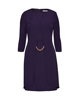 Layered Moss Crepe Dress With Chain Trim