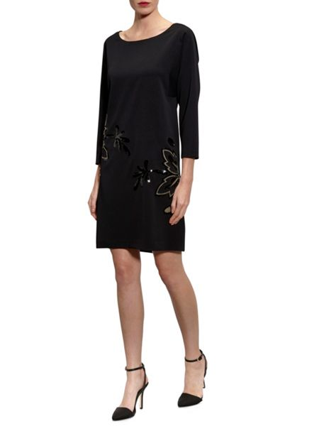 Gina Bacconi Moss crepe cutout dress