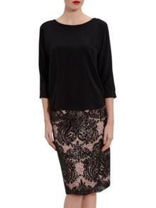 Gina Bacconi Soho crepe top with seam detail