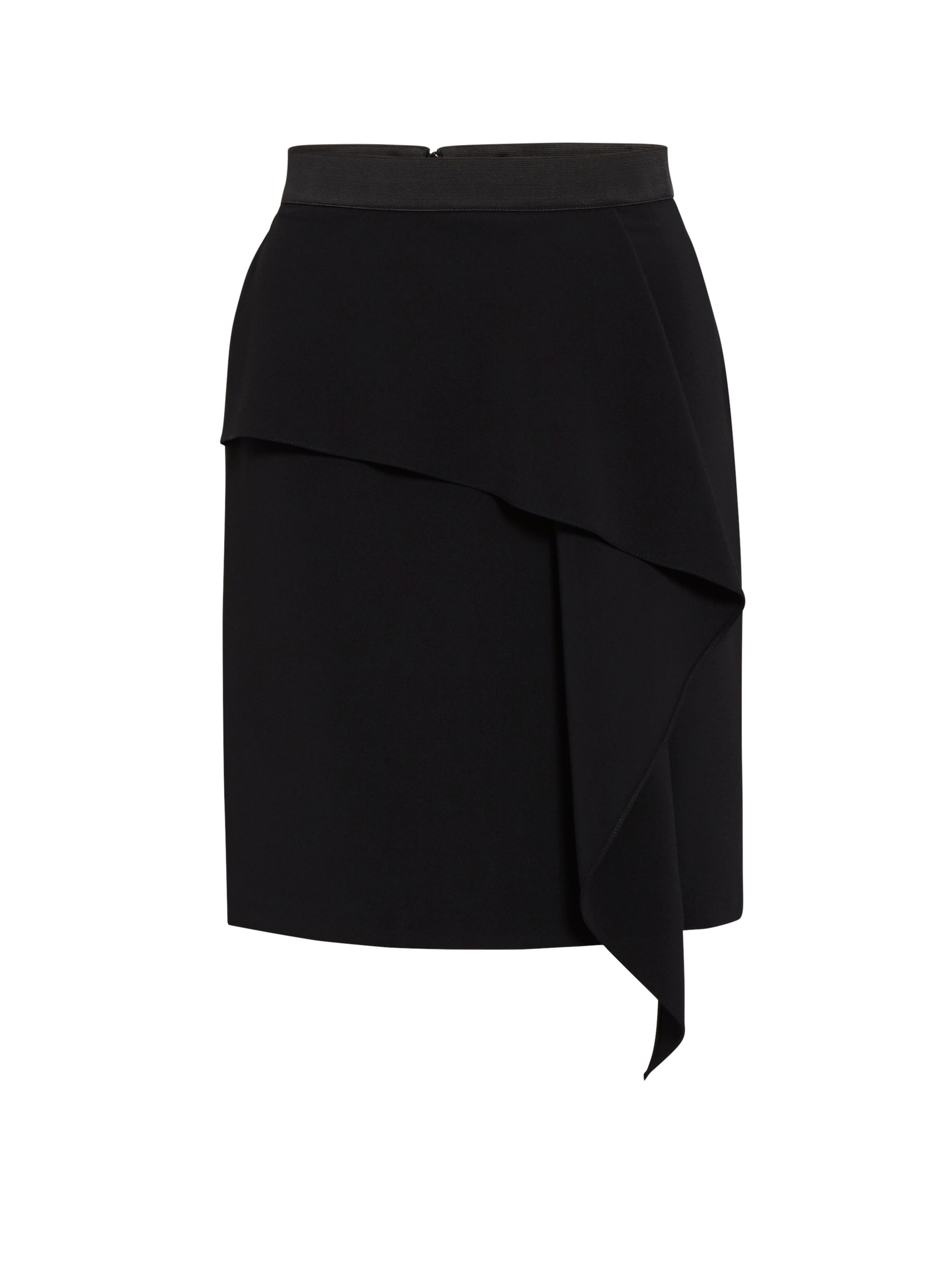 Gina Bacconi Moss Crepe Skirt With Waterfall Effect, Black