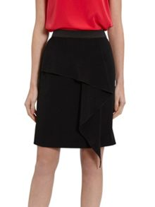 Gina Bacconi Moss Crepe Skirt With Waterfall Effect