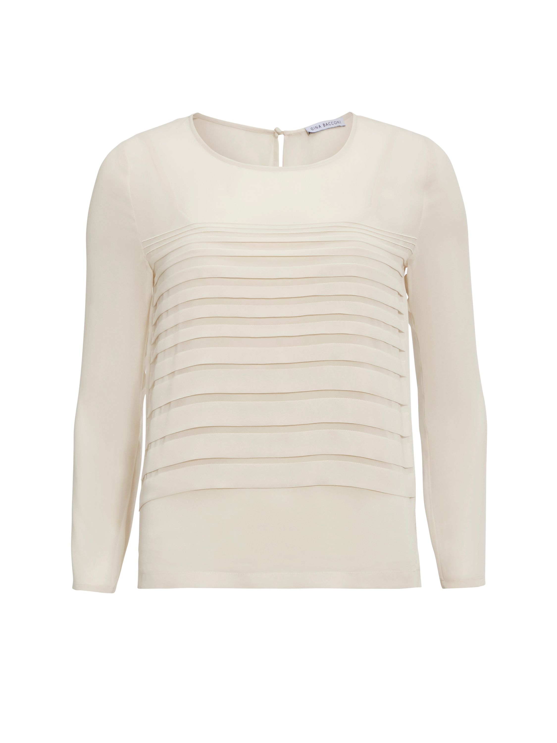 Gina Bacconi Chiffon top with pleated front, Cream