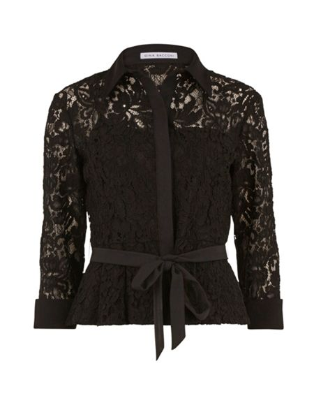 Gina Bacconi Lace Blouse With Contrast Trim And Belt