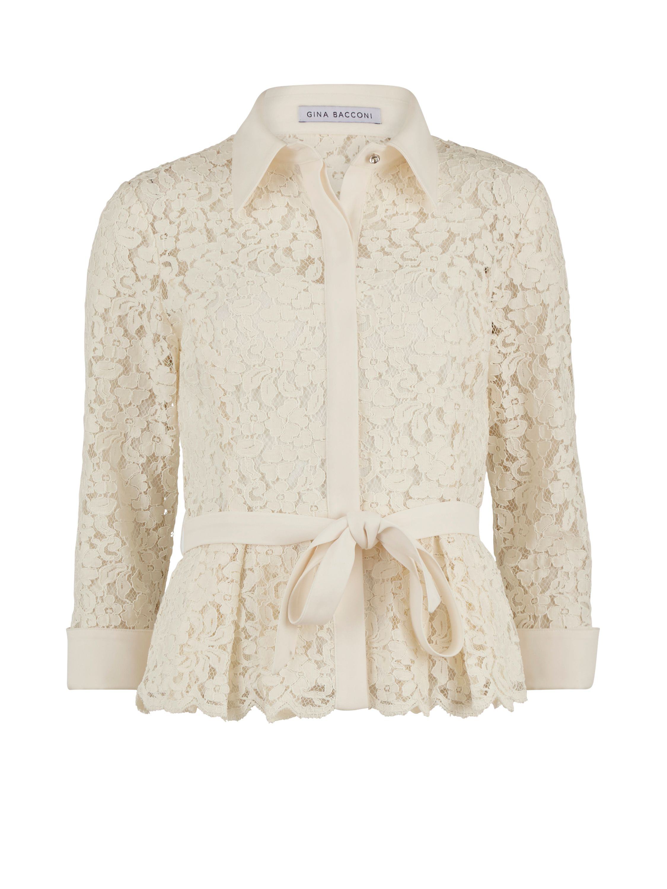 Gina Bacconi Lace Blouse With Contrast Trim And Belt, Cream