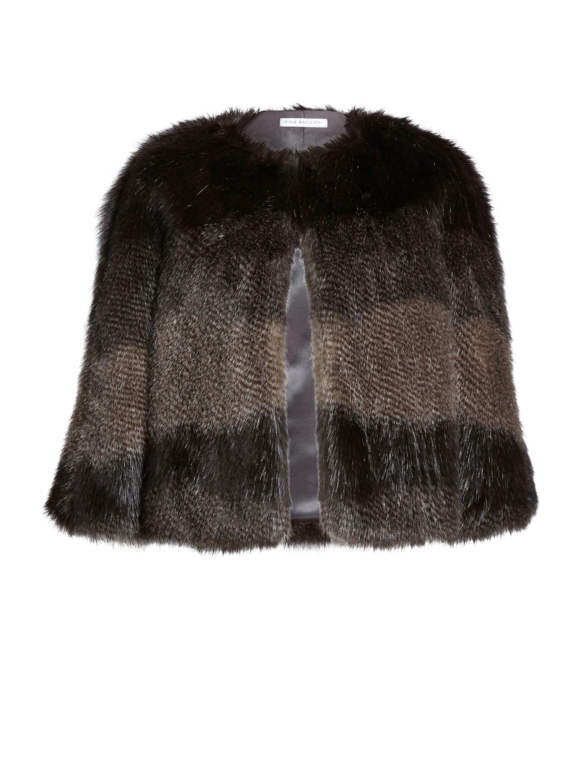 Gina Bacconi Subtle Stripe Faux Fur Cape, Multi-Coloured