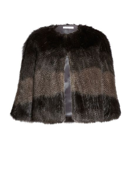 Gina Bacconi Subtle Stripe Faux Fur Cape