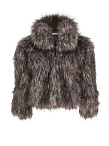 Gina Bacconi Sparkle Metallic Faux Fur Jacket