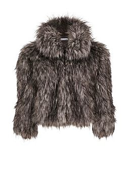 Sparkle Metallic Faux Fur Jacket