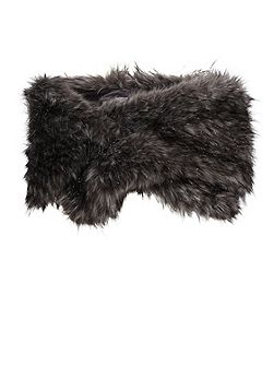 Sparkle Metallic Fur Slot Through Scarf