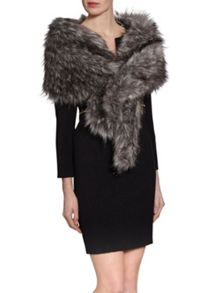 Gina Bacconi Sparkle Metallic Fur Slot Through Scarf