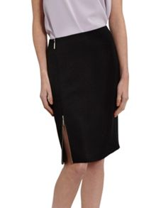 Gina Bacconi Statement Zip Moss Crepe Skirt