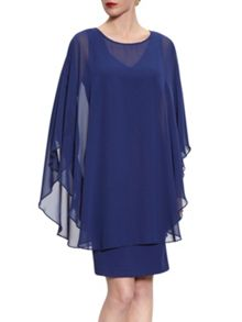 Gina Bacconi Beaded Edge Chiffon Cape And Crepe Dress
