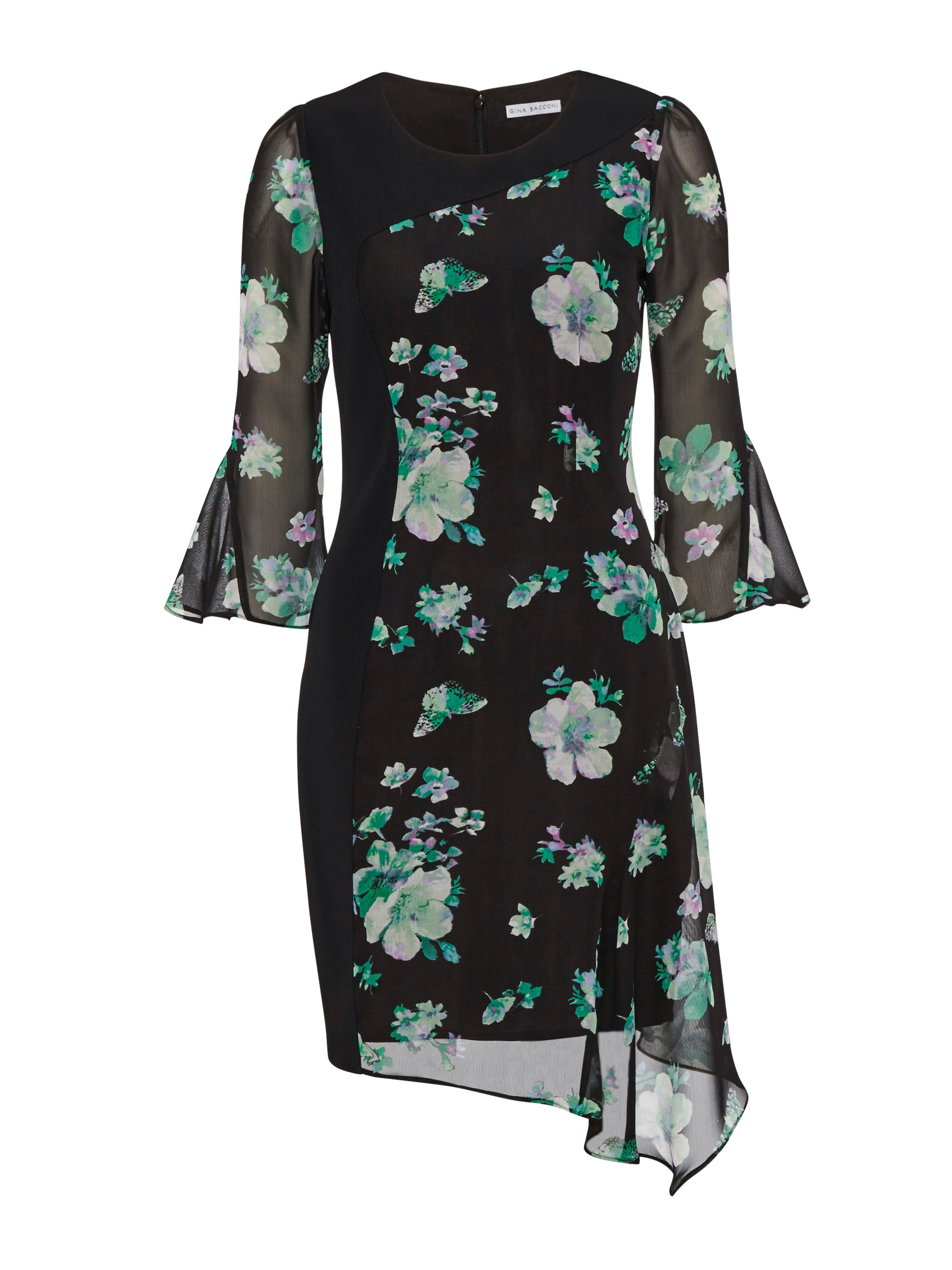 Gina Bacconi Black/Green Floral Chiffon Crepe Dress, Black