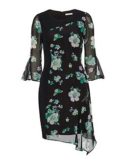Black/Green Floral Chiffon Crepe Dress