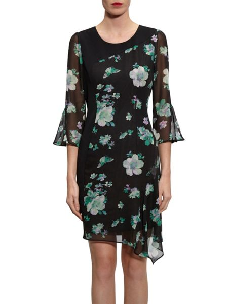 Gina Bacconi Black/Green Floral Chiffon Crepe Dress