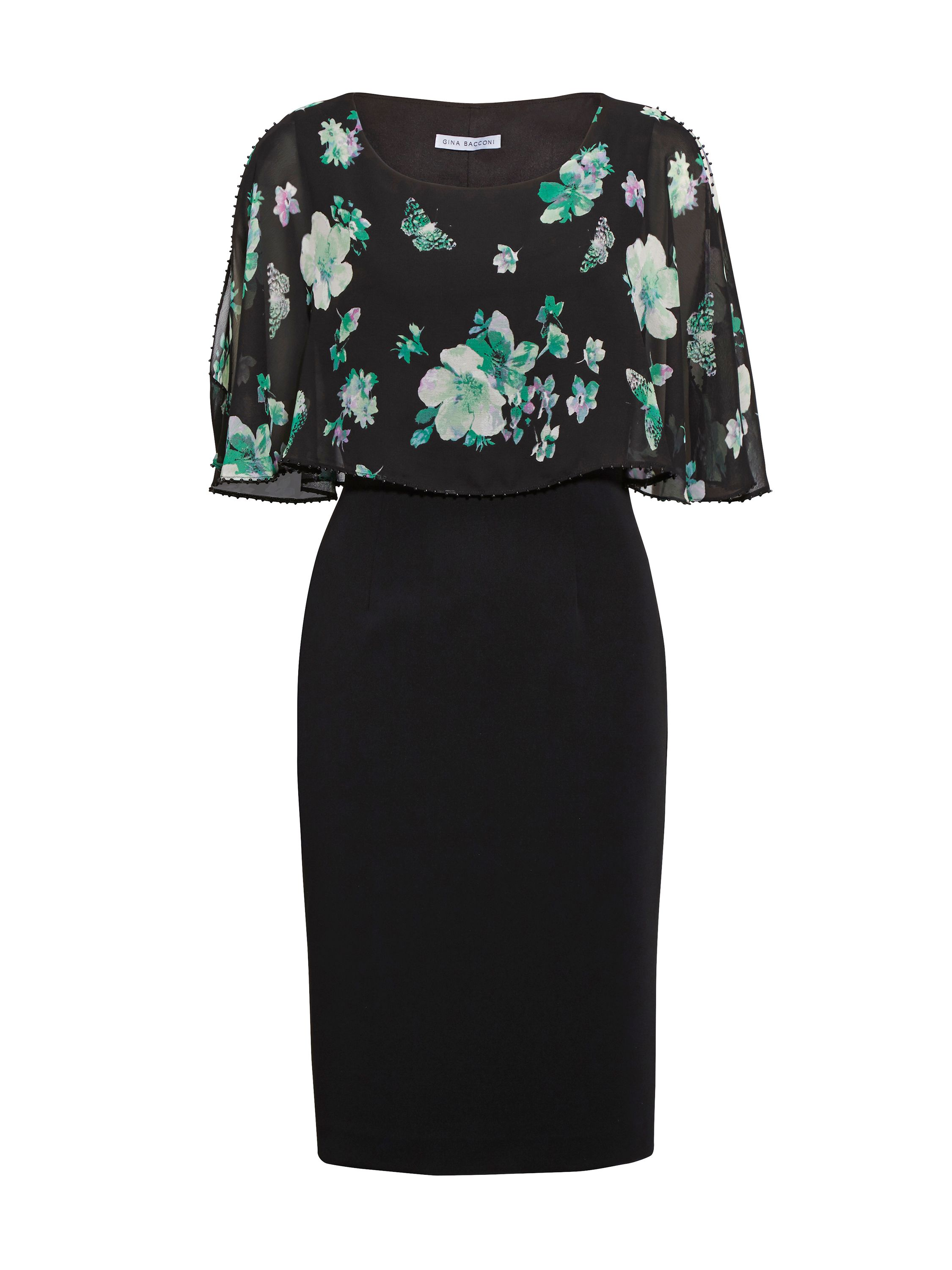 Gina Bacconi Green Floral Chiffon, Moss Crepe Dress, Black