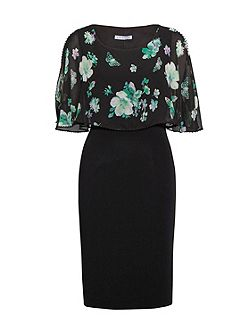 Green Floral Chiffon, Moss Crepe Dress