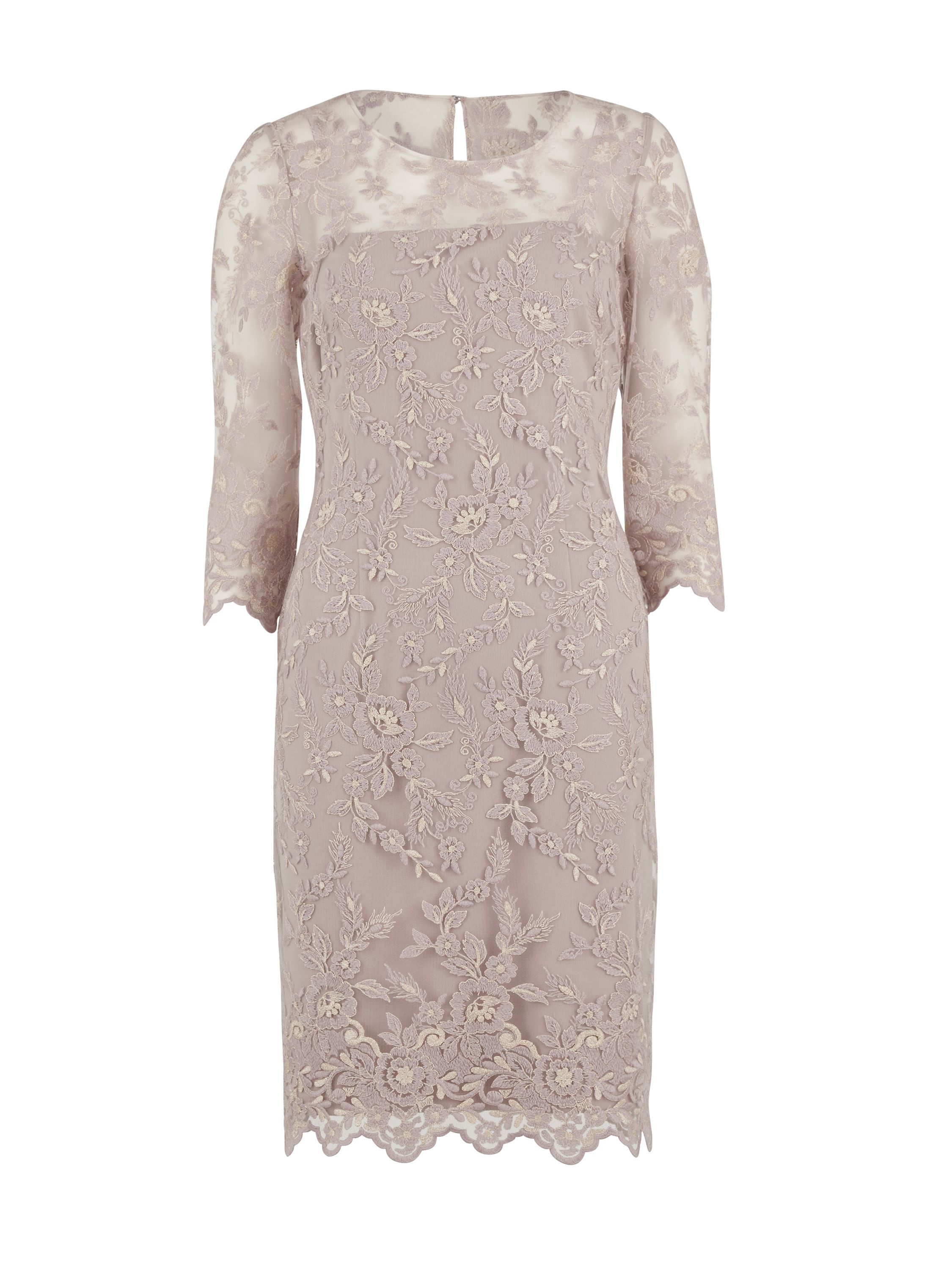 Gina Bacconi Antique Embroidered Net Dress, Pink