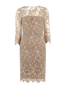 Gina Bacconi Antique Embroidered Net Dress