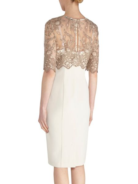 Gina Bacconi Antique embroidery top and crepe dress