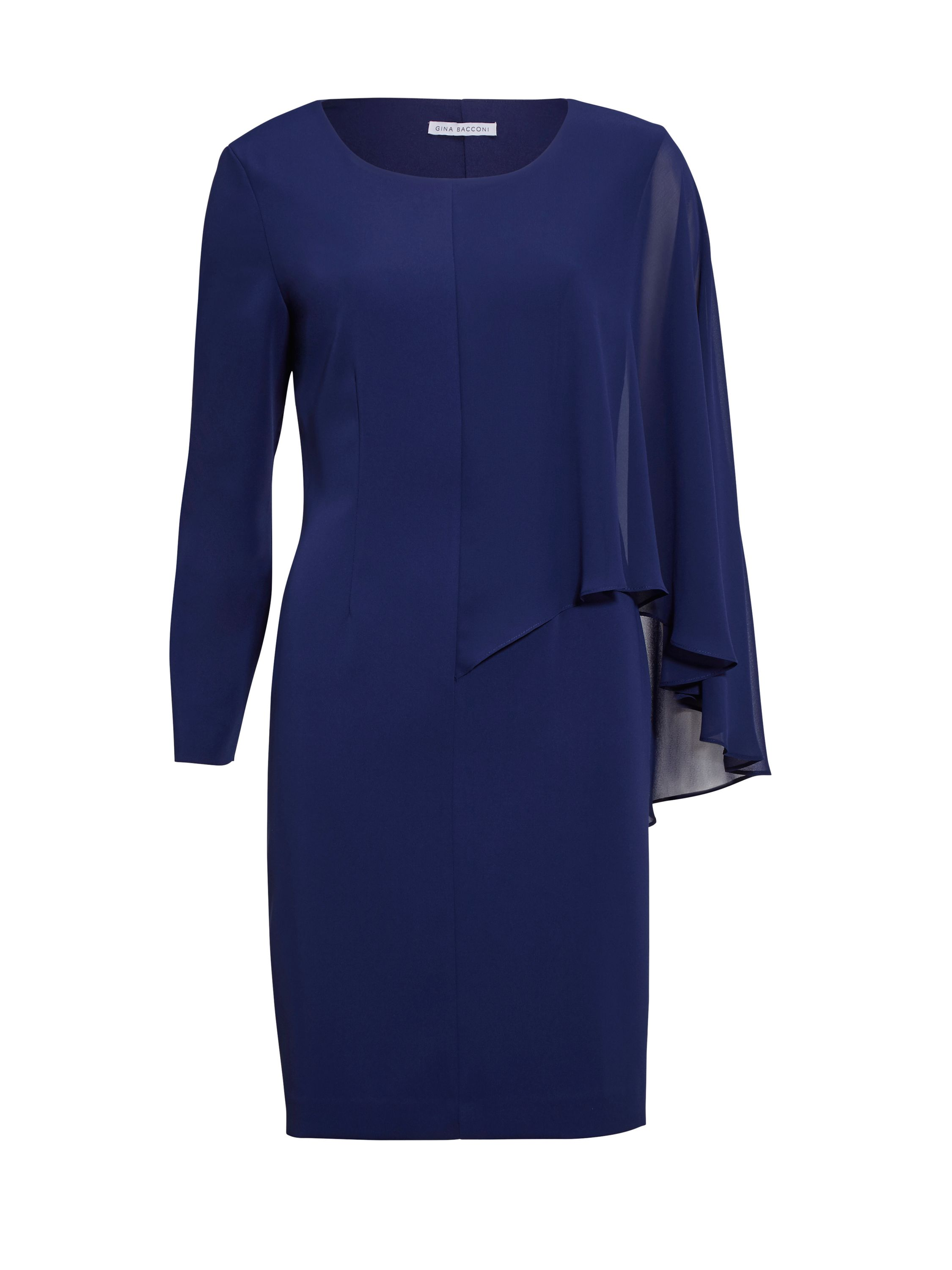 Gina Bacconi Moss Crepe And Chiffon Dress, Blue