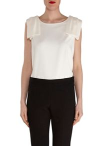 Gina Bacconi Moss Crepe Top With Shoulder Detail