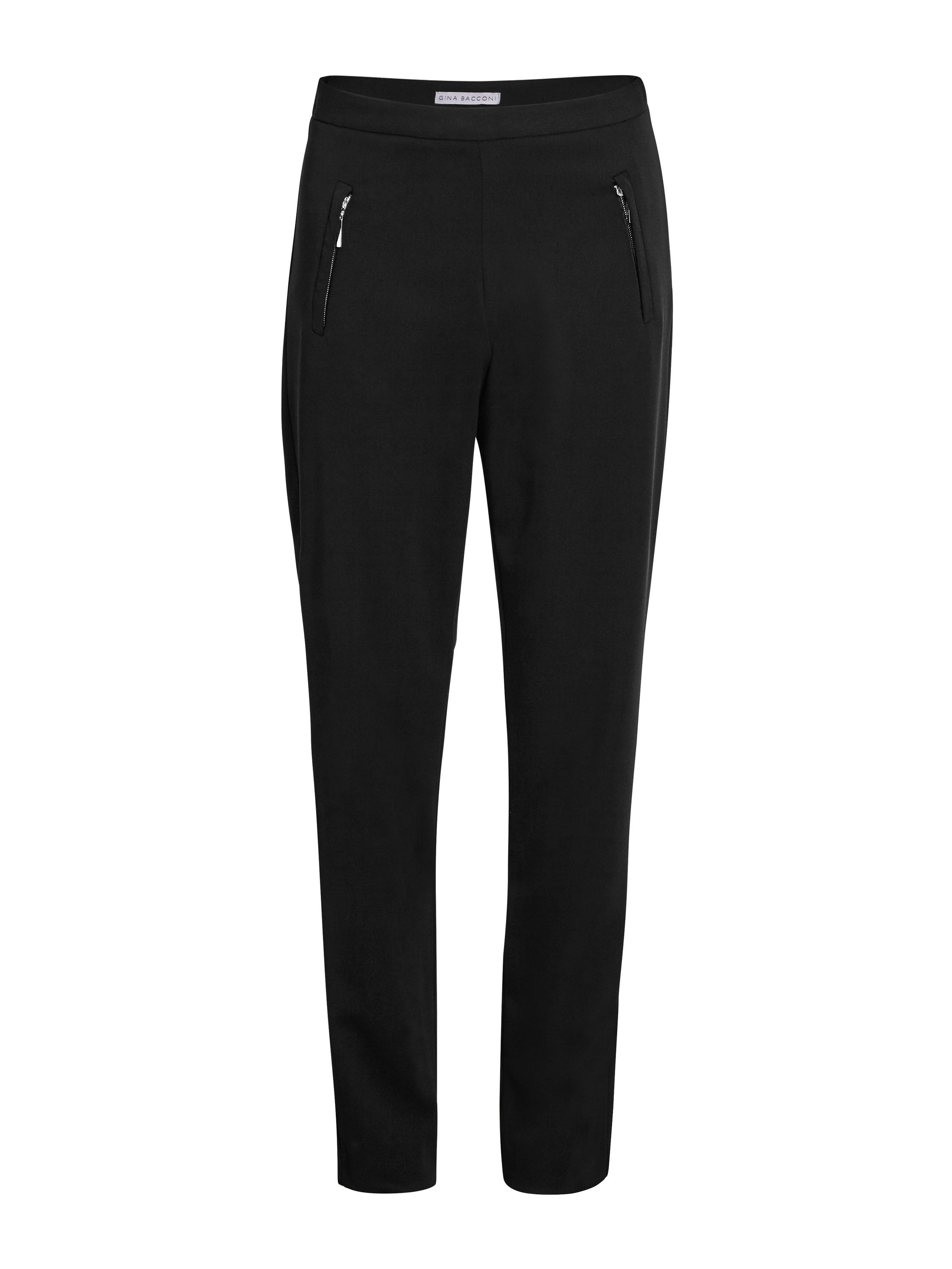 Gina Bacconi Moss crepe trouser with zip detail, Black