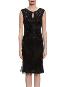 Gina Bacconi Beaded Dress With Frill Hem