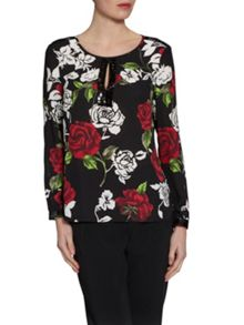 Gina Bacconi Sequin Trim Rose Crepe Georgette Blouse