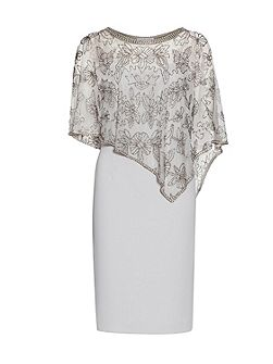 Moss Crepe Dress With Beaded Cape