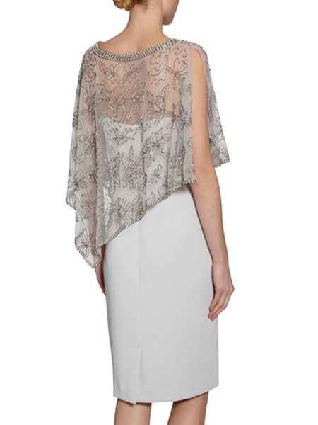Gina Bacconi Moss Crepe Dress With Beaded Cape