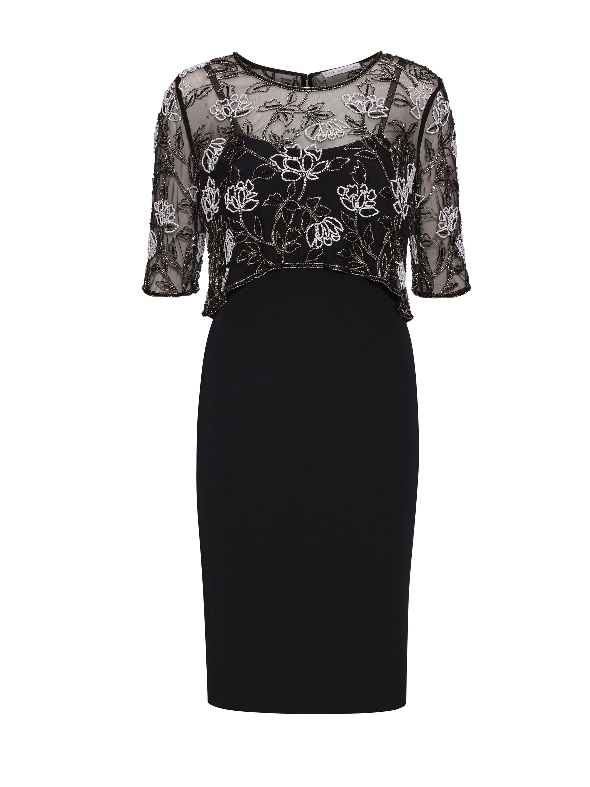 Gina Bacconi Moss Crepe Dress With Beaded Over Top, Black