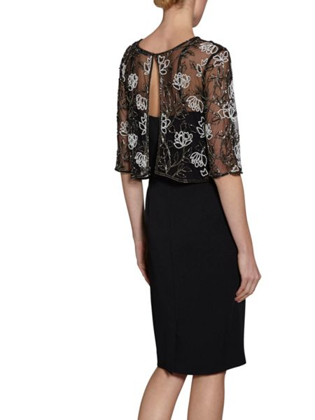 Gina Bacconi Moss Crepe Dress With Beaded Over Top