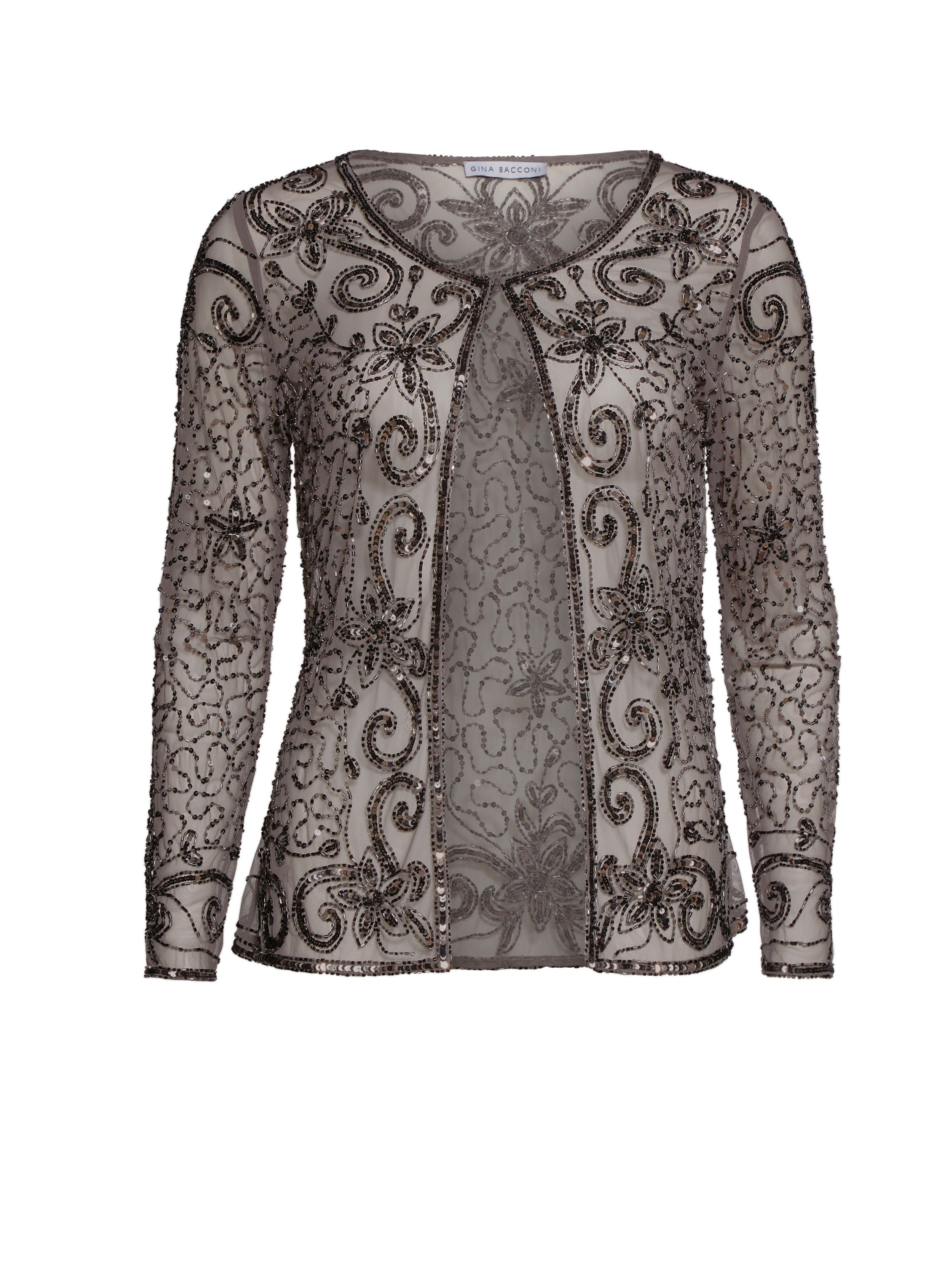 Gina Bacconi Bead and sequin unlined jacket, Grey