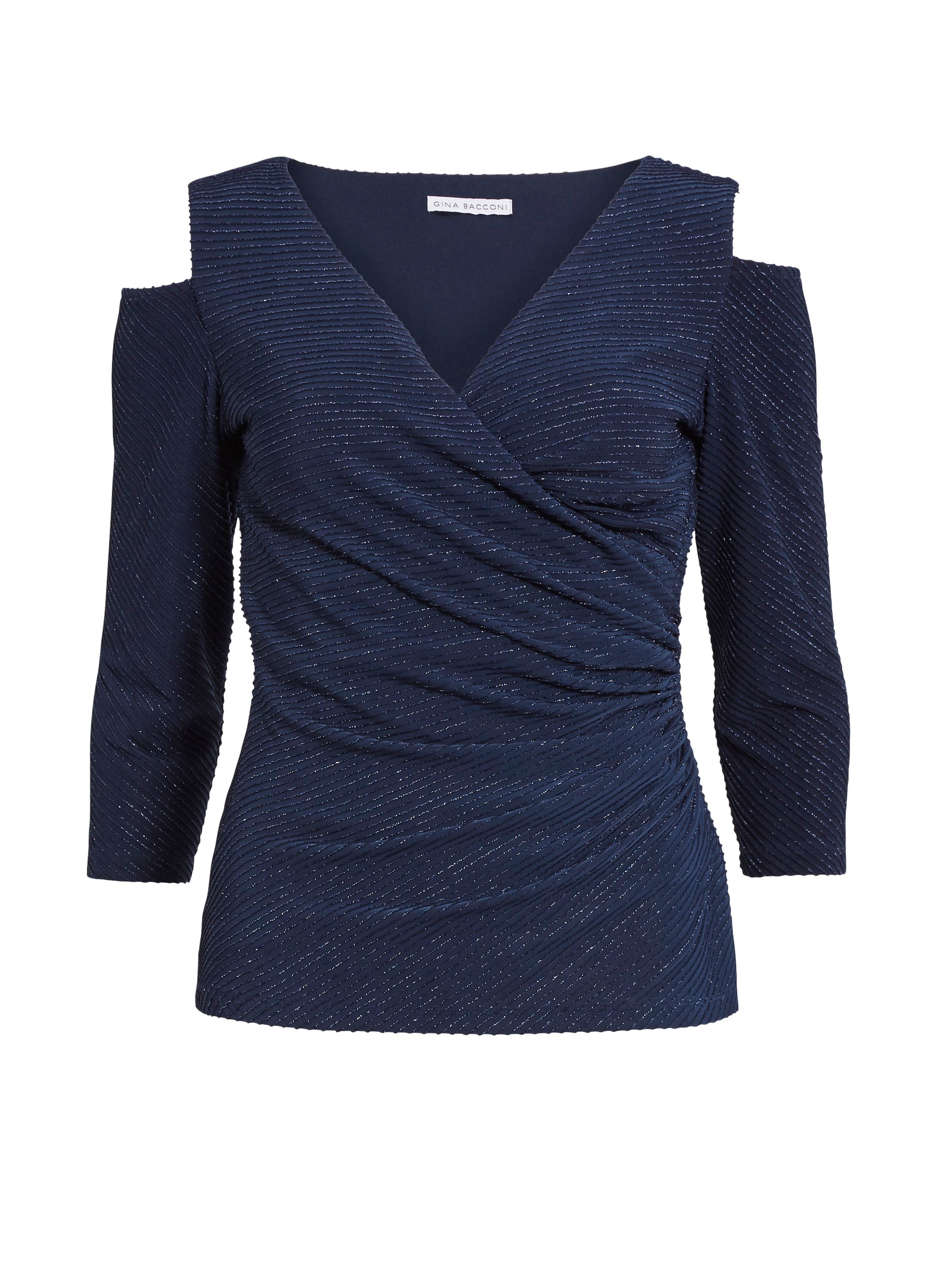 Gina Bacconi 3D Metallic Stripe Knit Top, Blue