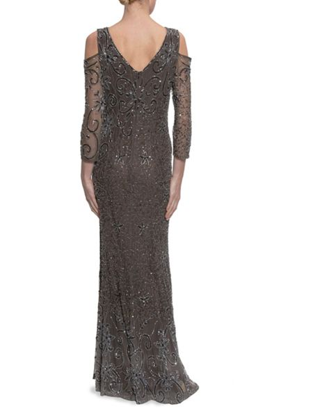 Gina Bacconi Beaded Maxi Dress With Cutout Shoulder