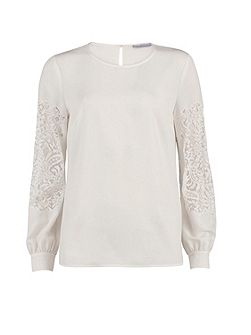 Soho Crepe Blouse With Guipure Sleeve