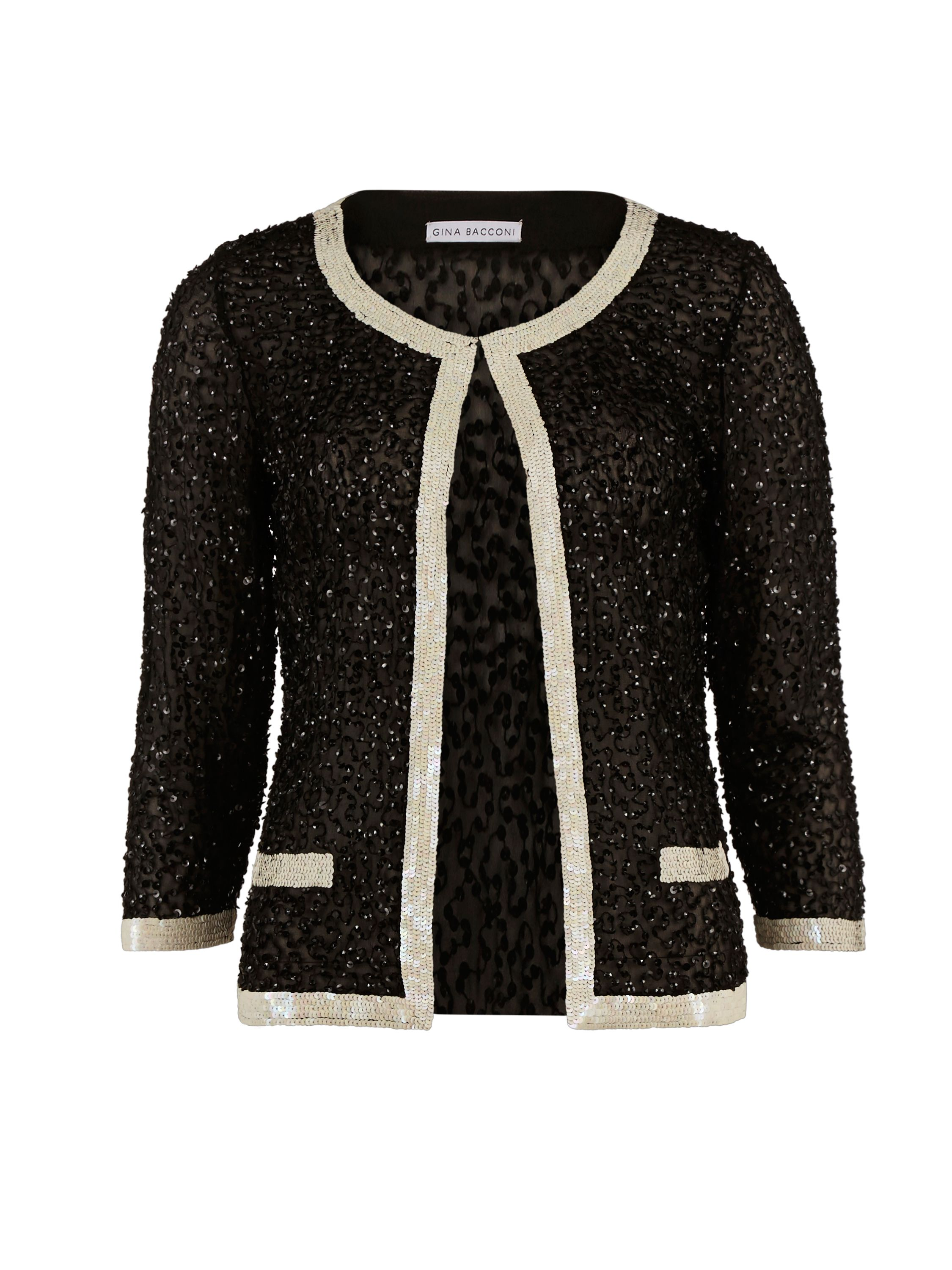 Gina Bacconi Sequin Jacket With Contrast Bands, Black