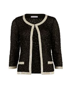 Gina Bacconi Sequin Jacket With Contrast Bands