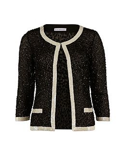 Sequin Jacket With Contrast Bands