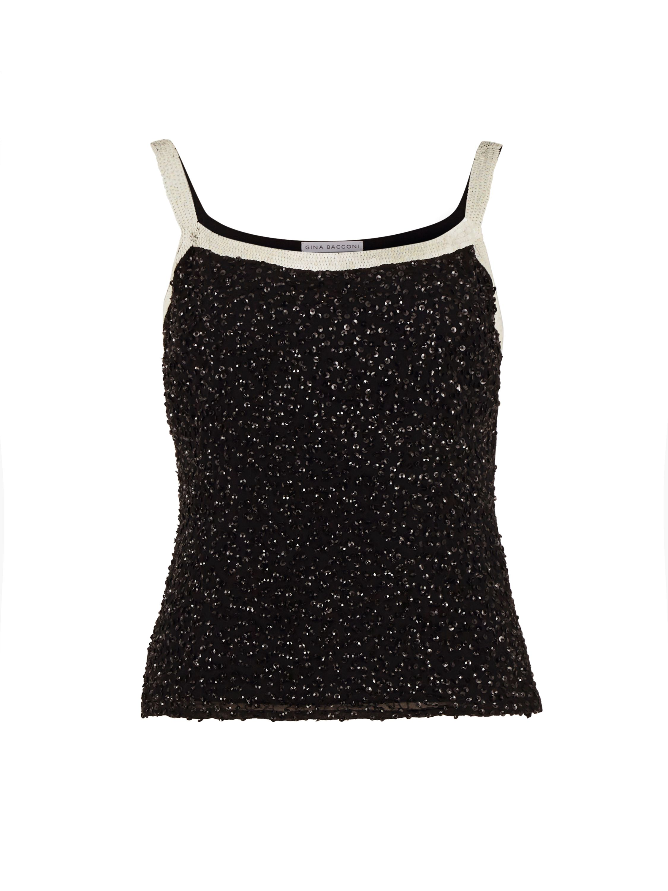 Gina Bacconi Sequin Cami With Contrast Bands, Black
