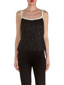Gina Bacconi Sequin Cami With Contrast Bands