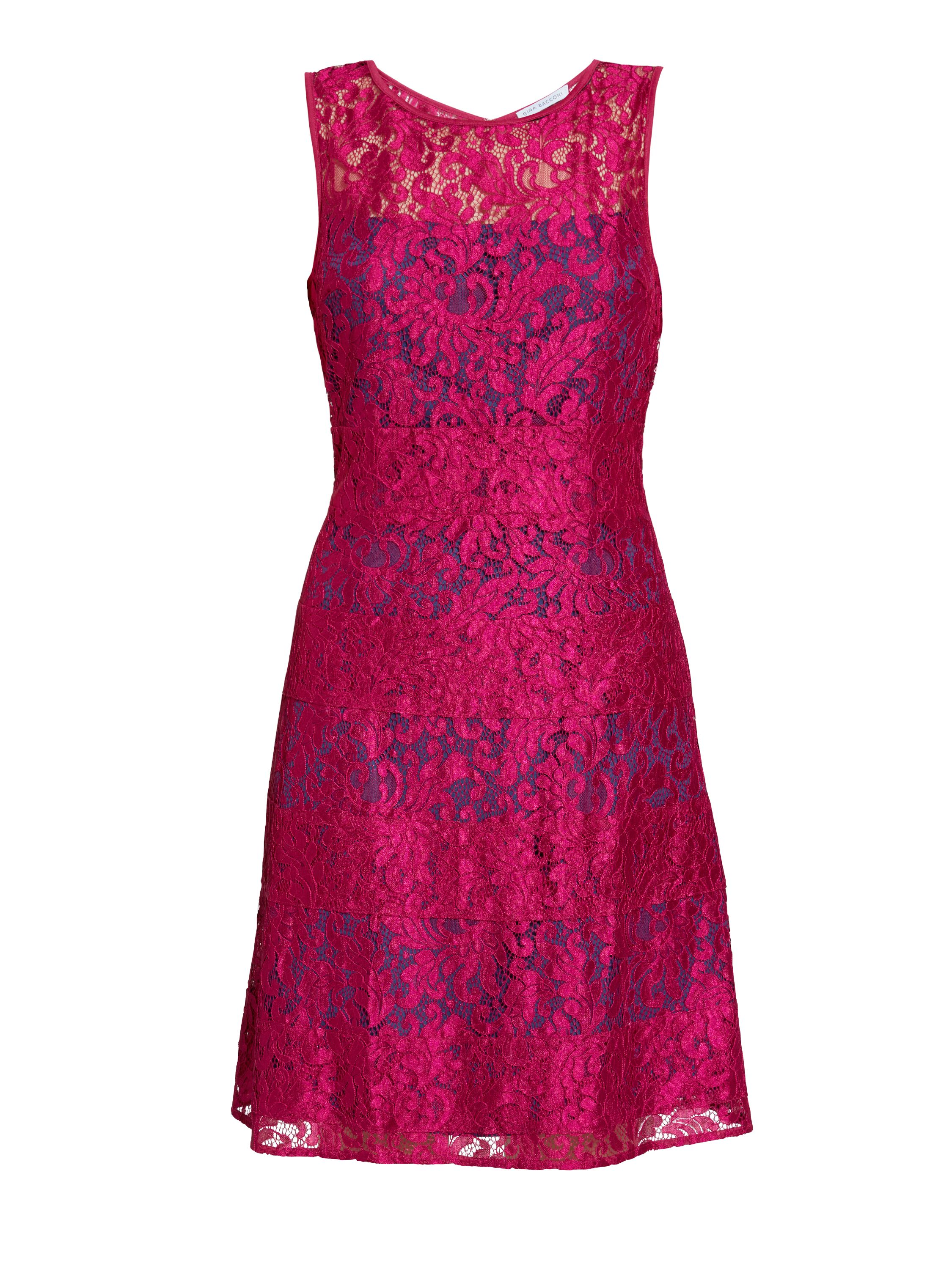 Gina Bacconi Bright Wine Scallop Eyelash Lace Dress, Blue