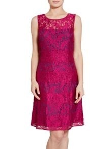 Gina Bacconi Bright Wine Scallop Eyelash Lace Dress