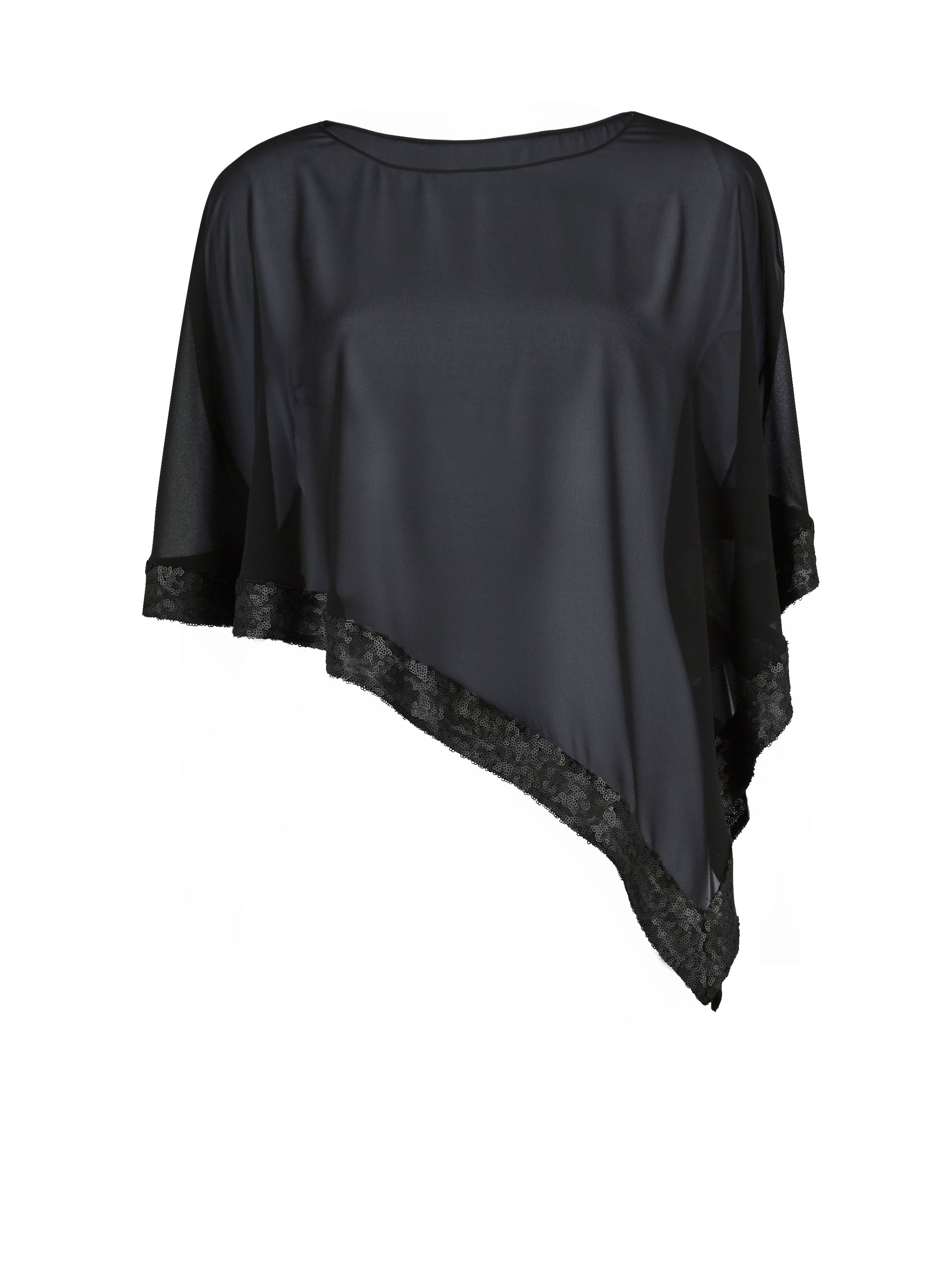 Gina Bacconi Chiffon cape with sequin edge, Black