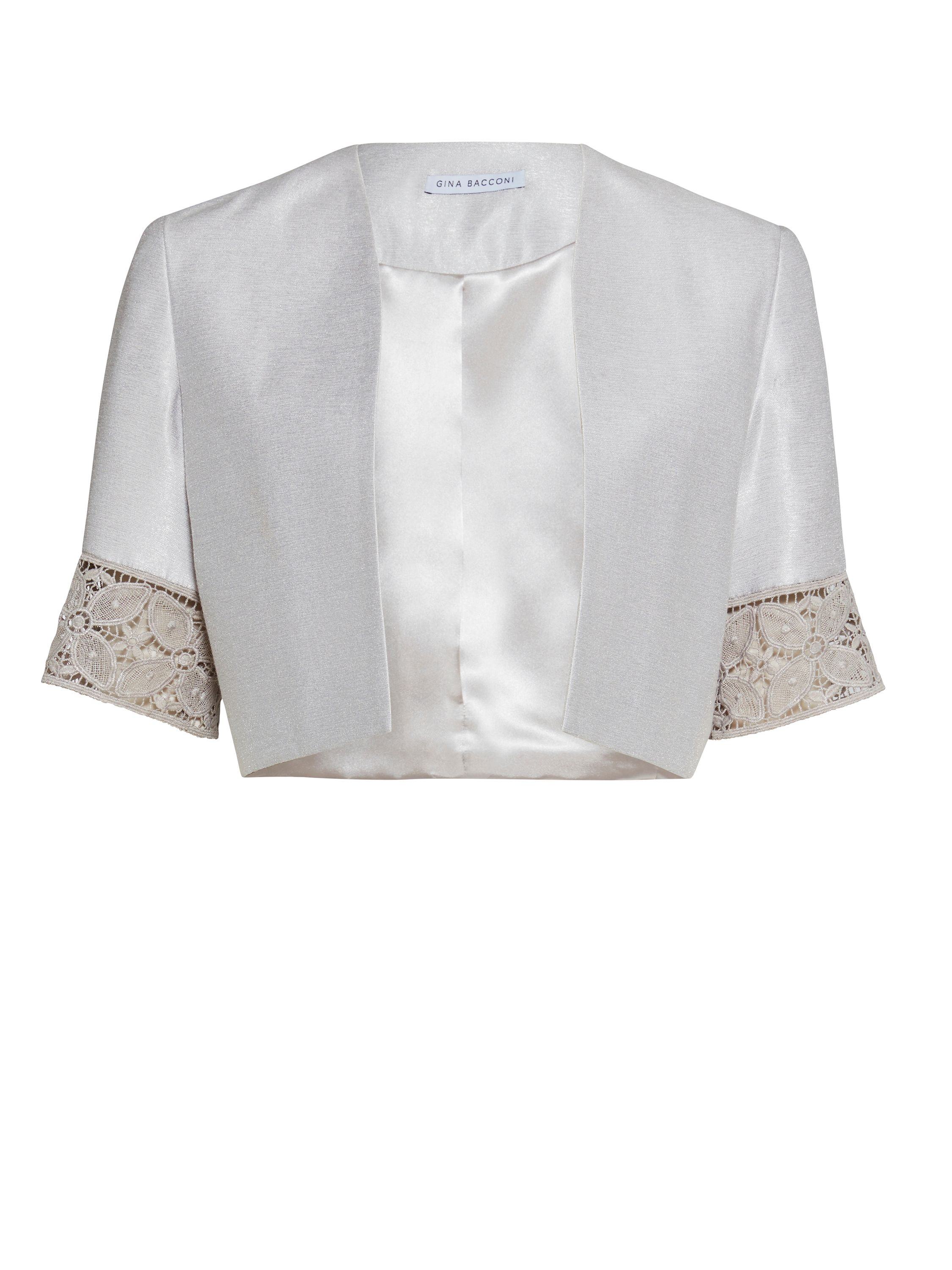 Gina Bacconi Crepe Chine And Antique Foil Jacket, White