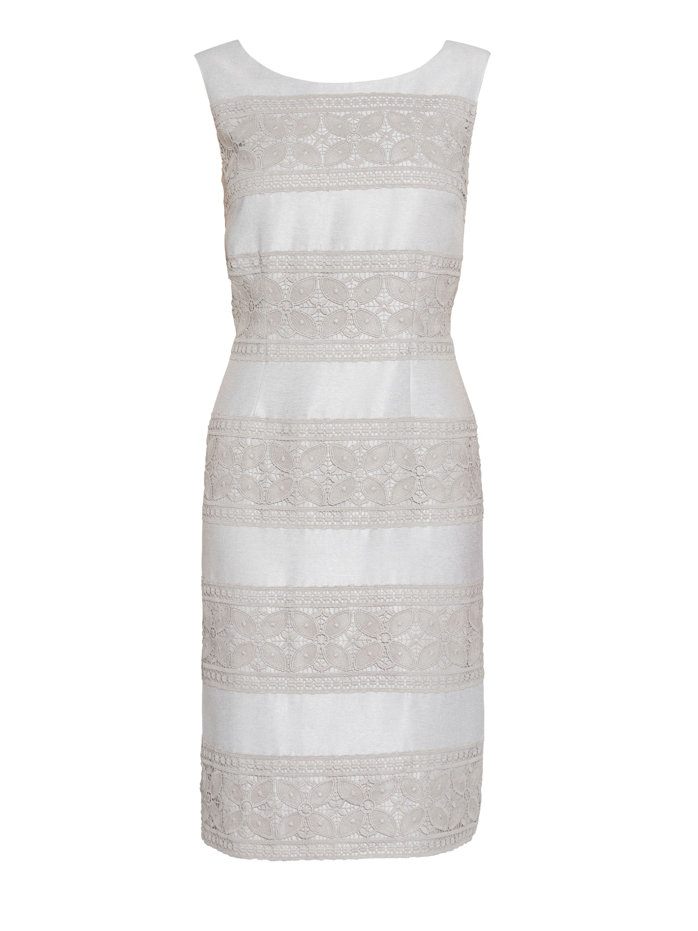 Gina Bacconi Crepe chine and antique foil panel dress, Taupe