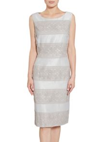 Gina Bacconi Crepe chine and antique foil panel dress